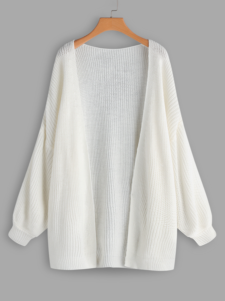 Plus Size White Plain Knit Cardigan