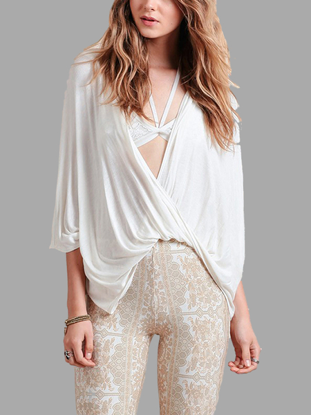 Plunging Neck Front Twist Drape Top