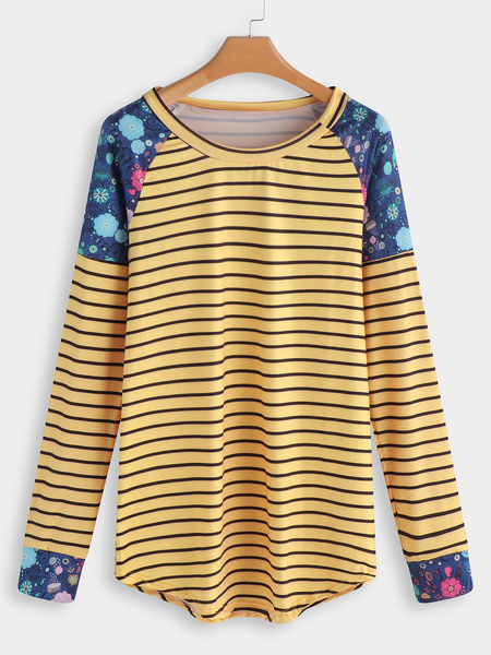 Yellow Stripe Floral Fashion T Shirt