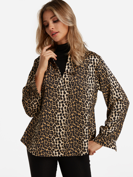 Yellow Leopard Perkins Collar Slit Design Long Sleeves Fake Two-Pieces Shirt