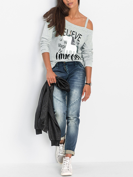 Green Cut Out Printed Asymmetrical Long Sleeves T-shirts