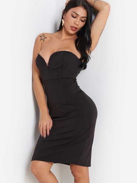 Black Backless Strapless Party Midi Dress