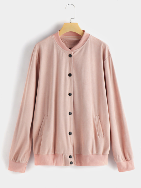 Pink Button Design Plain Long Sleeves Coat With Slip Poackets