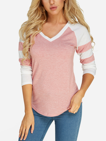 Pink V-neck Long Sleeves T-shirts