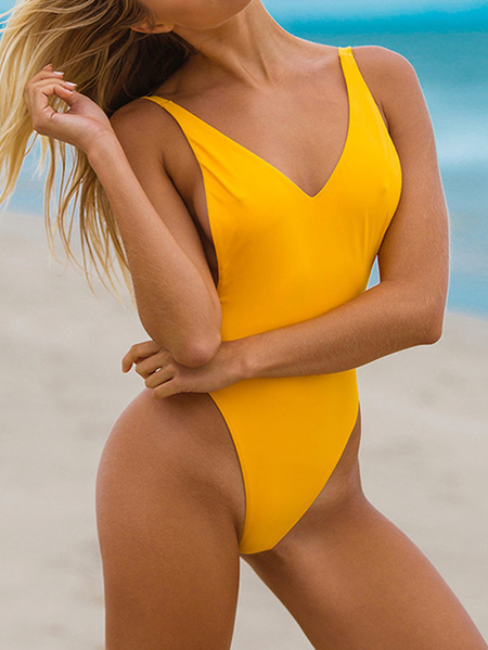 Yellow Padded Design Deep V Neck Bodysuit Swimwears