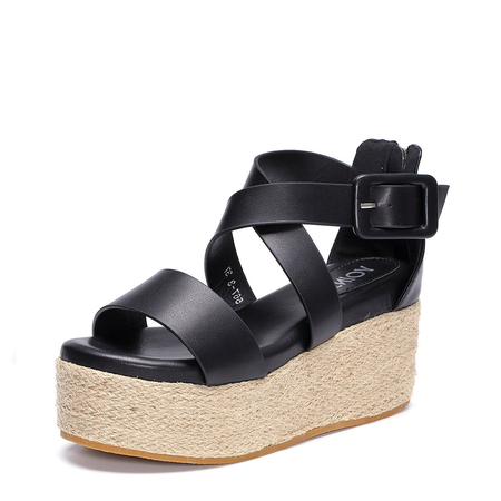 Black Woven Platfrom Sandals with Back Zipper