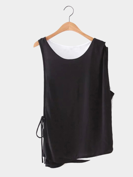 Black and White Double Layer Sleeveless Top