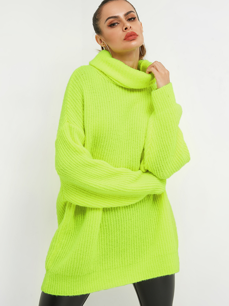 Neon Green Turtleneck Long Sleeves Sweater