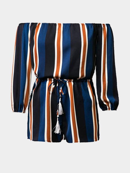 Off Shoulder Stripe Pattern Playsuit with Long Sleeves