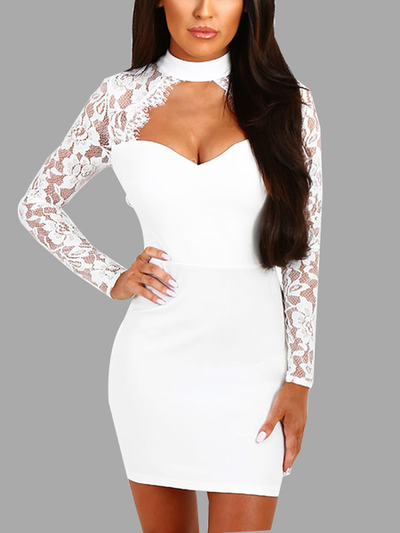 White Sexy Crew Neck Lace Insert Sleeves Mini Dress With Cut Out Detail