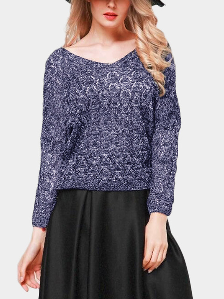 Navy Hollow Design V-neck Dolman Sleeve Sweater