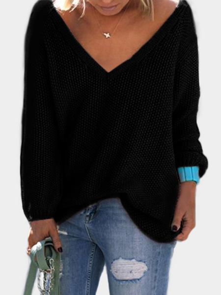 Black Classic Design Loose Plunge Sweater