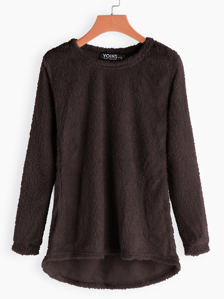 Coffee Round Neck Long Sleeves Sweater Top