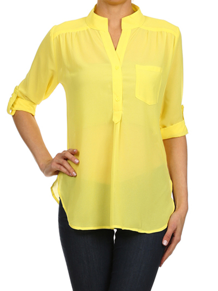 Yoins Yellow V-neck Adjustable Length Sleeves Blouse With Slit Hem