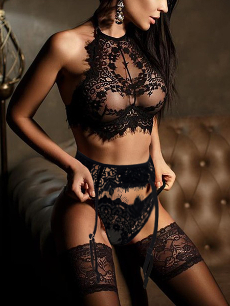 Black Suspender Design Eyelash Lace Trim See-through Lingerie Set