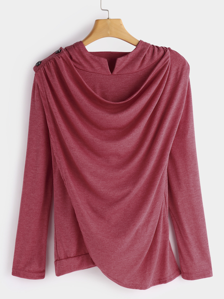 Red Drape Sagging Long Sleeves Top With Irregular Hem