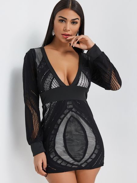Black Lace Hollow Out Deep V Neck Mini Dress