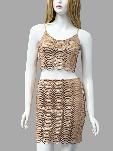 Golden Fashion Crop Top With Shoulder Strap And Mini Short Sequins Co-ord
