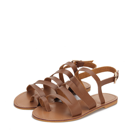 Brown Soft Leather Look Looped Toe Flat Sandals