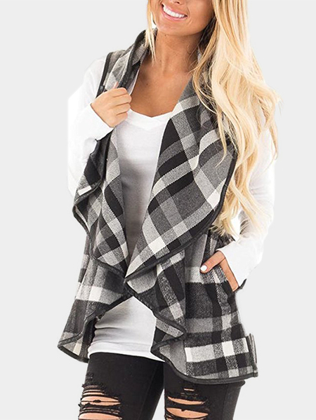 Grid Pattern Lapel Collar Sleeveless Outerwear