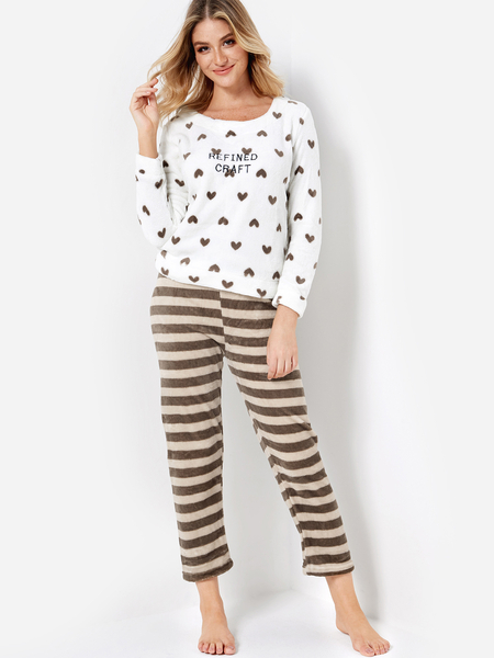 Love and Letter Print Top & Stripe Pants Coral Fleece Pajama Sets
