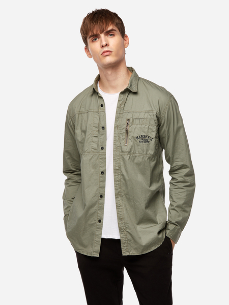 Olive Pocket And Zipper Design Single Breasted Classic Neck Long Sleeve Hoodies&Coat Men's Shirt