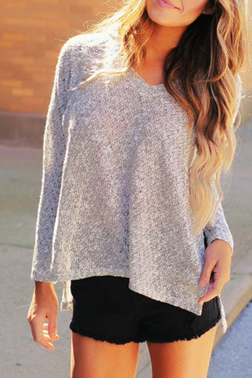 Light Gray V-neck Knitted Jumper With Slit Hem