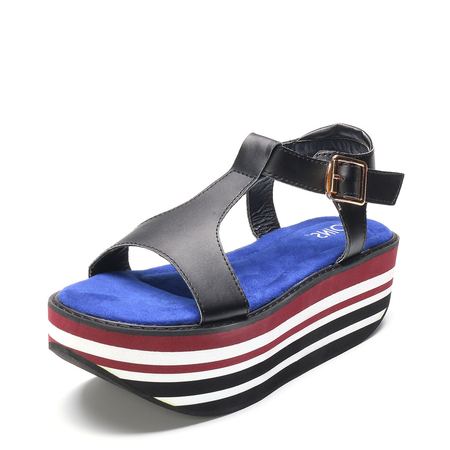 Black Stripe T-bar Platfrom Sandals