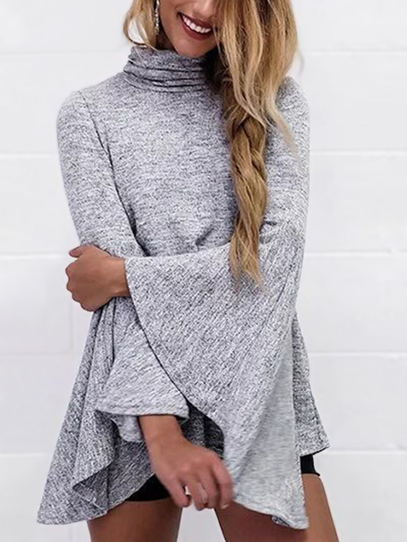 Light Grey Chimney Collar Bell Sleeves Outerwear