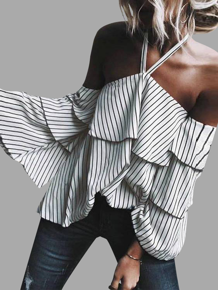 Stripe Halter Ruffle Design Cold Shoulder Bell Sleeves Top