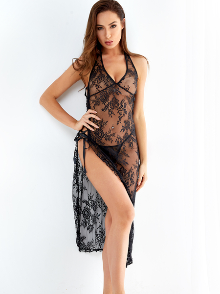 Black Halter Neck Lace-up Slit Asymmetrical Hem Floral Lace Pajamas Sleepwear Dress