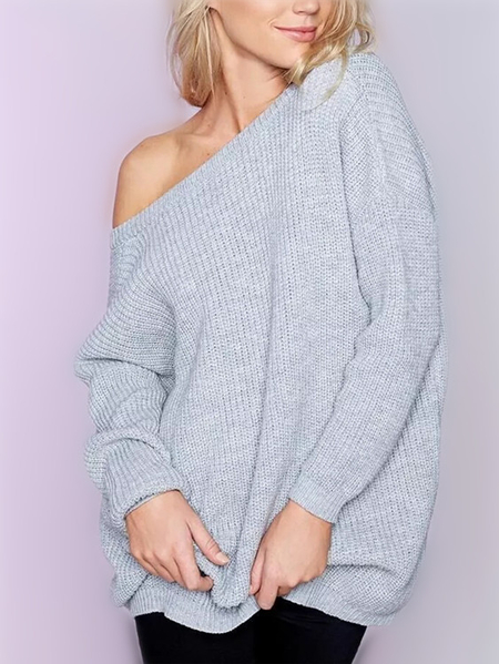 Grey Deep V-neck Two-way Wear Long Sleeves Sweater