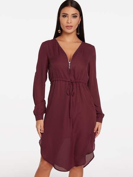 Burgundy Zip Design V-neck Long Sleeves Drawstring Waist Dress