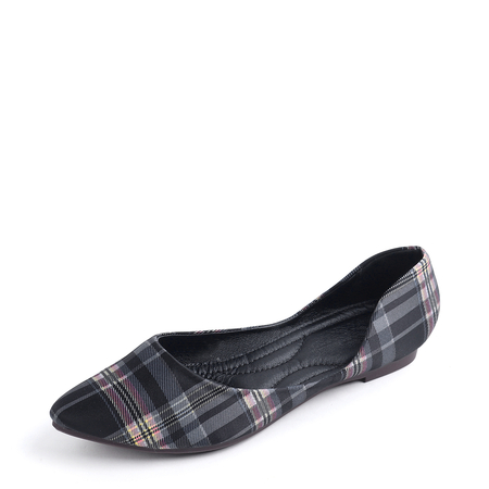 Black Plaid Point Toe Pump Flats