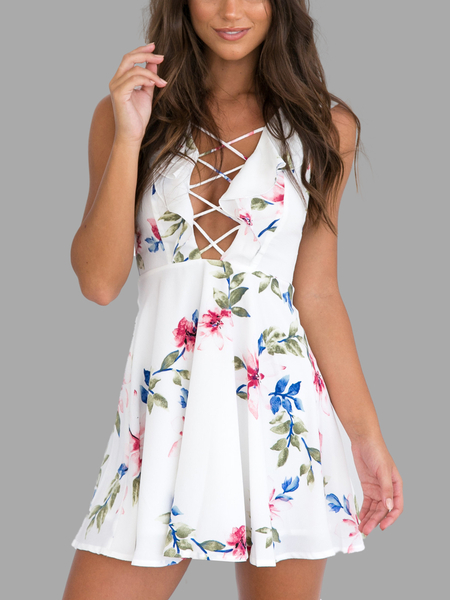 White Hollow Out Criss-cross Front Random Floral Print Mini Dress