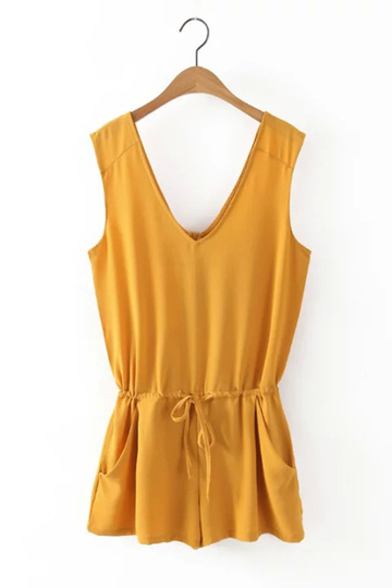 Yellow V Neck Sleeveless Playsuit with Self-tie