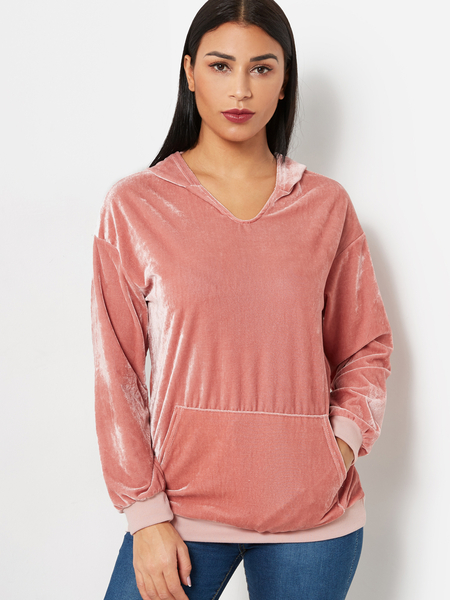 Pink Pullover Long Sleeves Pocket Design Hoodie