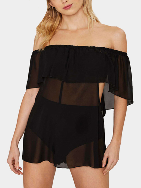 Black Off Shoulder Lace-up Sheer Beach Cover-up