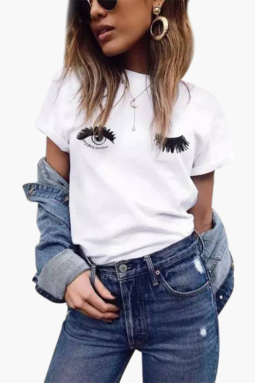 White Cute Eyes Pattern Round Neck Short Sleeves T-shirt