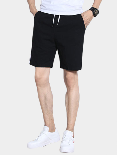 Black Cotton Casual Style Side Stripe  Plain Drawstring Waist Men's Shorts