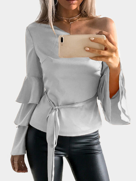 Grey One Shoulder Ruffle Bell Sleeves Blouse with Belt