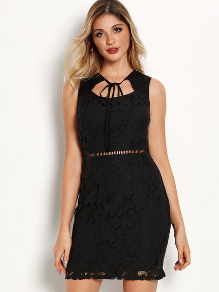 Black Self-tie Front Lace Hollow Details Round Neck Sleeveless Dress