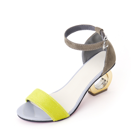Bright Yellow Frosted Chunky Heeled Ankle Strap Sandals