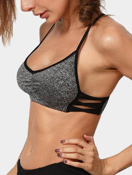 Grey Sheer Pattern Comfort Sports Bra