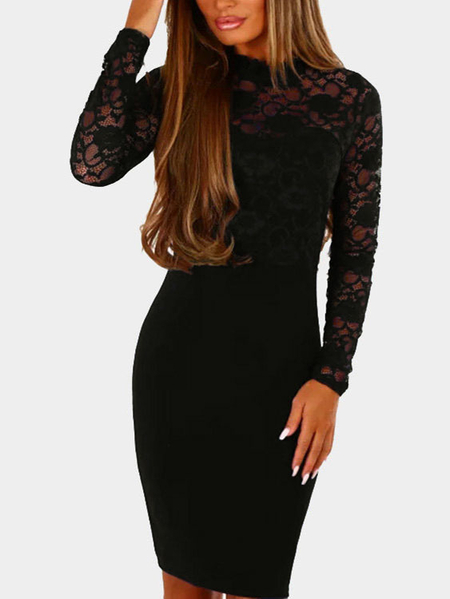 Black Lace Insert Crew Neck Long Sleeves Bodycon Dress