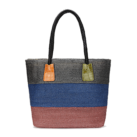 Color Block Woven Tote Bag in Grey Blue and Pink
