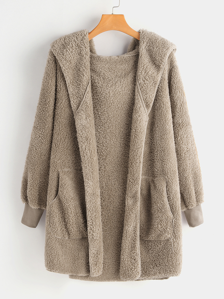 Plus Size Khaki Hooded Faux Fur Coat