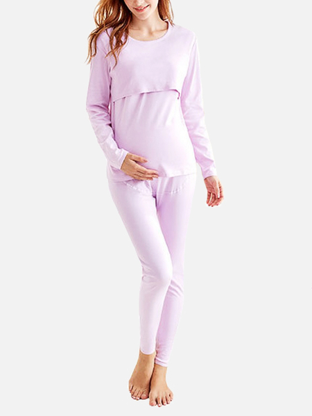 Purple Round Neck Side Stitching Maternity Elastic Pajamas Set