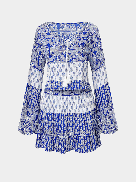 Mini Dress with Tie Front and Tassels