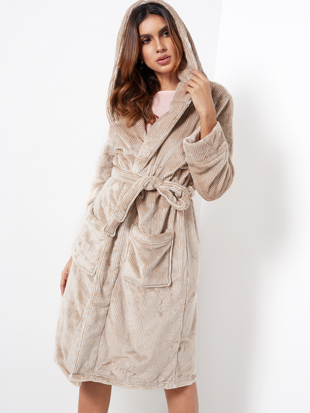 Beige Stripe Pocket Front Long Sleeves Fleece Hooded Robe